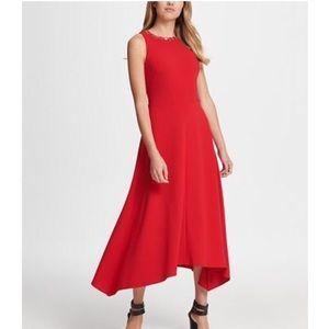 DKNY Gold Link Neck Trim Red Midi Dress